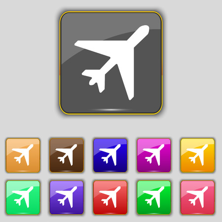 fender: airplane icon sign. Set with eleven colored buttons for your site. illustration