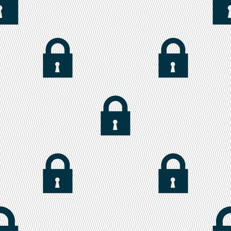 closed lock: closed lock icon sign. Seamless pattern with geometric texture. illustration Stock Photo