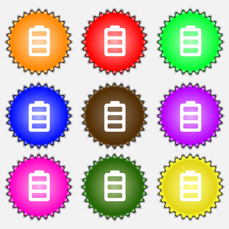 fully: Battery fully charged icon sign. A set of nine different colored labels. illustration Stock Photo