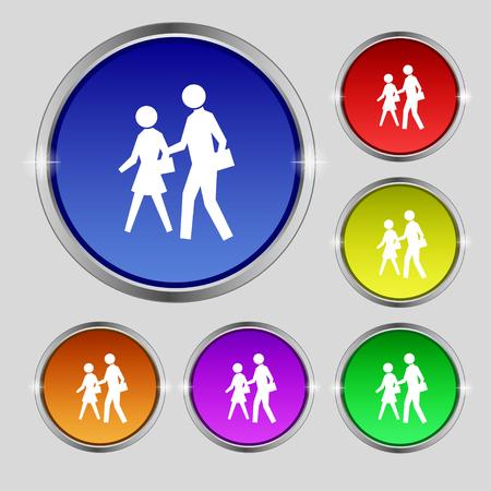 paso de peatones: icono de la muestra del paso de peatones. s�mbolo redonda sobre los botones de colores brillantes. ilustraci�n