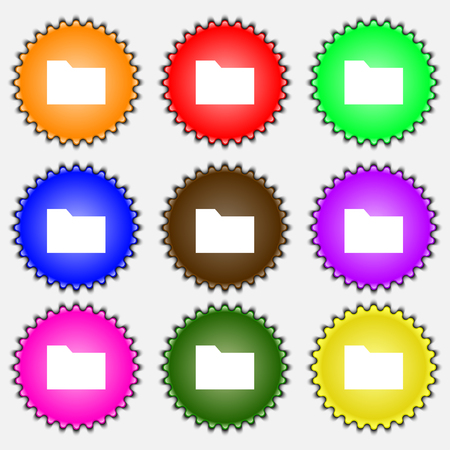 map case: Document folder icon sign. A set of nine different colored labels. illustration Stock Photo