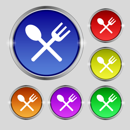 crosswise: Fork and spoon crosswise, Cutlery, Eat icon sign. Round symbol on bright colourful buttons. illustration