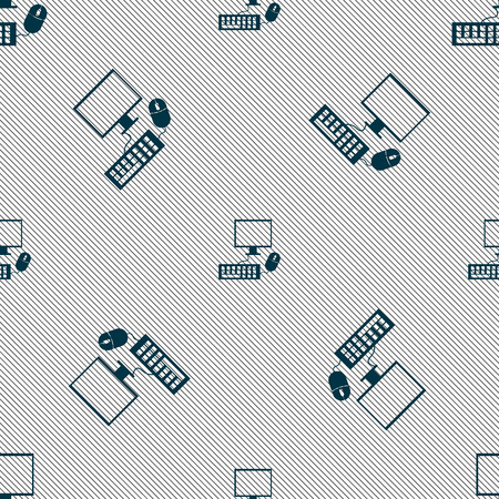 keyboard and mouse: Computer widescreen monitor, keyboard, mouse sign icon. Seamless pattern with geometric texture. illustration Stock Photo