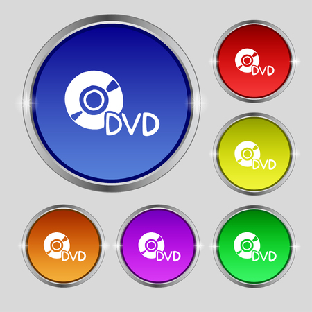 storage data product: dvd icon sign. Round symbol on bright colourful buttons. illustration Stock Photo