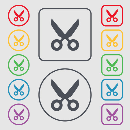 disclosed: Scissors hairdresser sign icon. Tailor symbol. Symbols on the Round and square buttons with frame. illustration Stock Photo