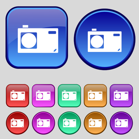 digital camera: Photo camera sign icon. Digital symbol. Set colourful buttons. illustration