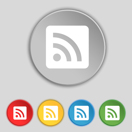 rss feed: RSS feed icon sign. Symbol on five flat buttons. illustration