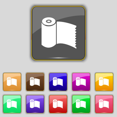 wc: Toilet paper, WC roll icon sign. Set with eleven colored buttons for your site. Stock Photo