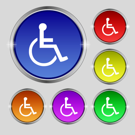 paralyze: disabled icon sign. Round symbol on bright colourful buttons. illustration