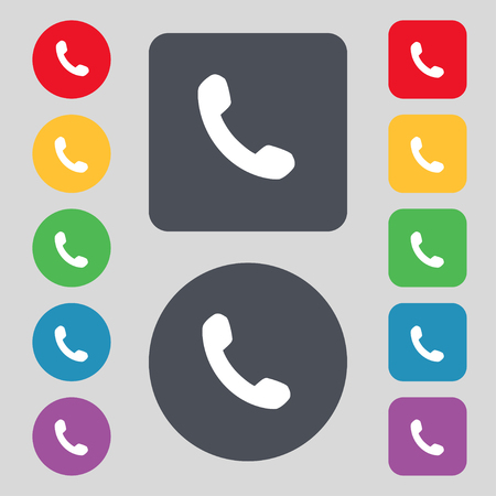 phone support: Phone, Support, Call center icon sign. A set of 12 colored buttons. Flat design. illustration