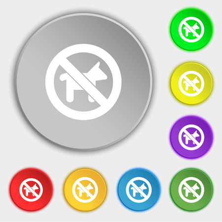 dog walking: dog walking is prohibited icon sign. Symbol on five flat buttons. illustration