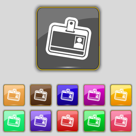recognizing: Id card icon sign. Set with eleven colored buttons for your site. illustration