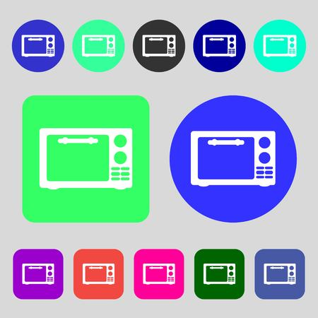 electric stove: Microwave oven sign icon. Kitchen electric stove symbol.12 colored buttons. Flat design. illustration
