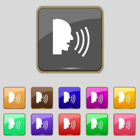 noisily: Talking Flat modern web icon. Set colour button. illustration Stock Photo