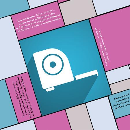 cintas metricas: icono de la construcción de la ruleta símbolo de plano de diseño web moderno con una larga sombra y el espacio para el texto. ilustración Foto de archivo