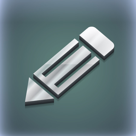 secretarial: pencil icon symbol. 3D style. Trendy, modern design with space for your text illustration. Raster version Stock Photo