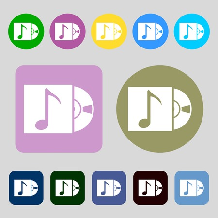 cd player: cd player icon sign.12 colored buttons. Flat design. illustration