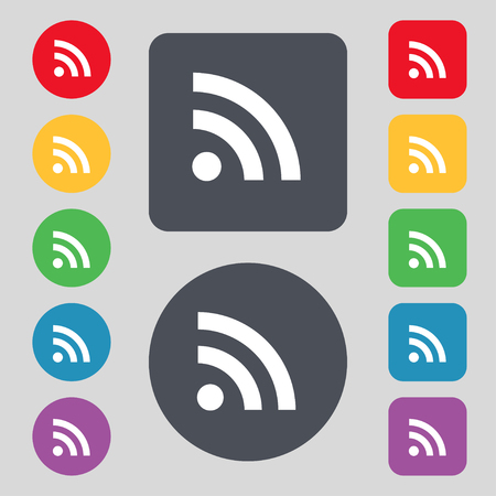 rss feed icon: RSS feed icon sign. A set of 12 colored buttons. Flat design. illustration