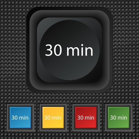 30: 30 minutes sign icon. Set of colored buttons. illustration