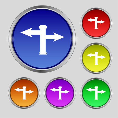 blank road sign: Blank Road Sign icon sign. Round symbol on bright colourful buttons. illustration