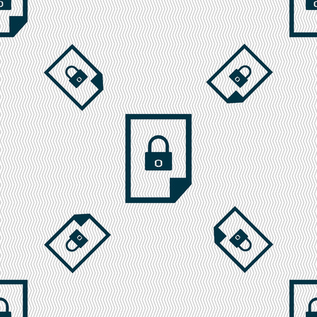 lockout: File locked icon sign. Seamless pattern with geometric texture. illustration