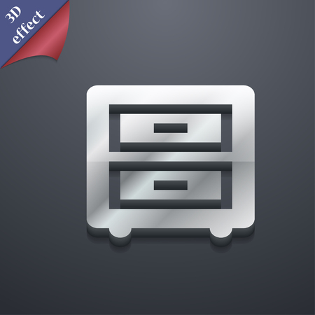 joinery: Nightstand icon symbol. 3D style. Trendy, modern design with space for your text illustration. Rastrized copy