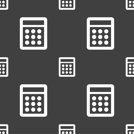 bookkeeping: Calculator sign icon. Bookkeeping symbol. Seamless pattern on a gray background. illustration Stock Photo