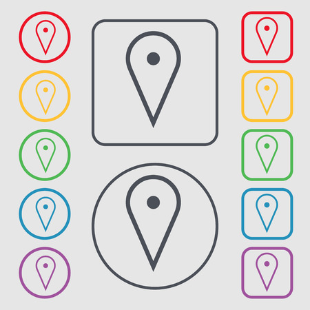 web portal: map poiner icon sign. symbol on the Round and square buttons with frame. illustration