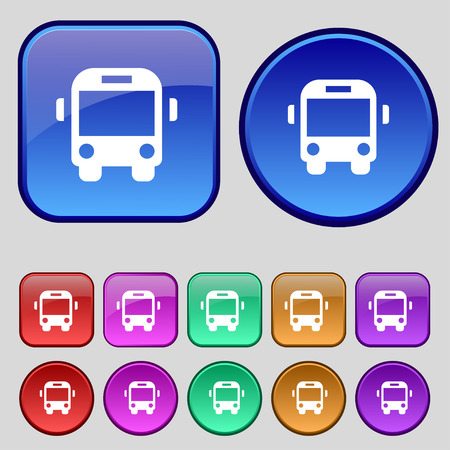 schoolbus: Bus icon sign. A set of twelve vintage buttons for your design. illustration