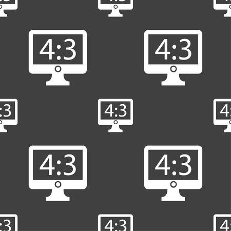 aspect: Aspect ratio 4 3 widescreen tv icon sign. Seamless pattern on a gray background. illustration
