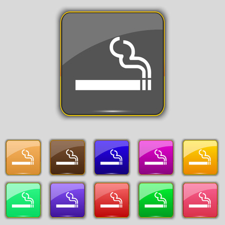 pernicious habit: cigarette smoke icon sign. Set with eleven colored buttons for your site. illustration
