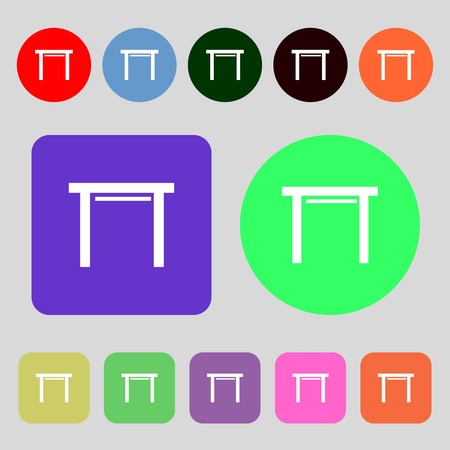 stool: stool seat icon sign.12 colored buttons. Flat design. illustration
