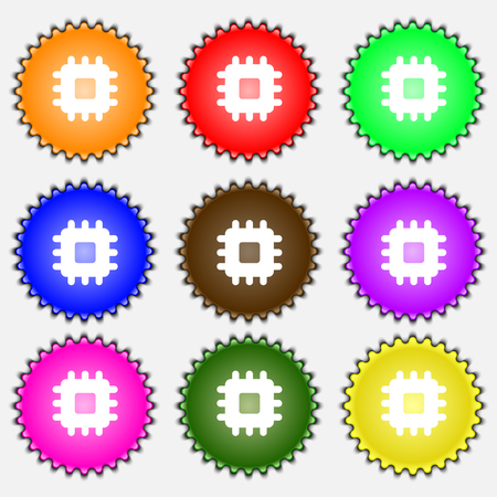 the unit: Central Processing Unit icon sign. A set of nine different colored labels. illustration Stock Photo