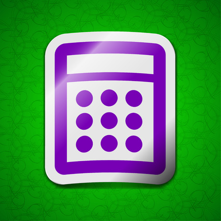 calc: Calculator icon sign. Symbol chic colored sticky label on green background. illustration Stock Photo