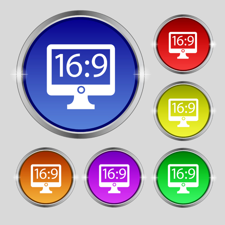 aspect: Aspect ratio 16:9 widescreen tv icon sign. Round symbol on bright colourful buttons. illustration Stock Photo