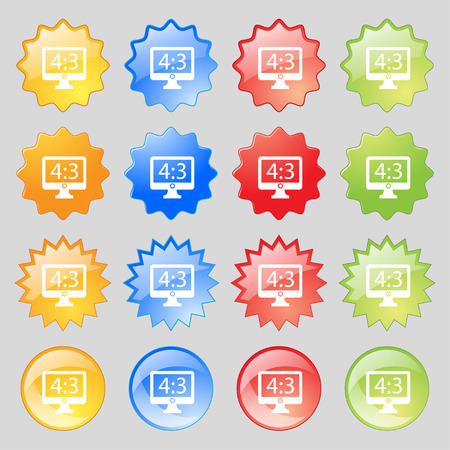 4 3 display: Aspect ratio 4 3 widescreen tv icon sign. Big set of 16 colorful modern buttons for your design. illustration