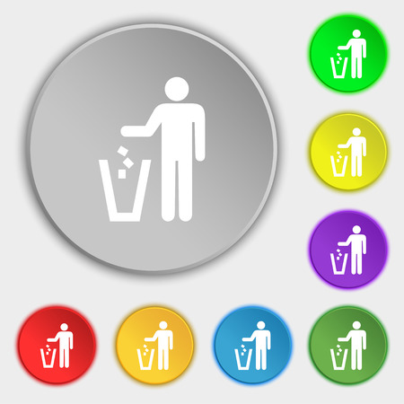 scrunched: throw away the trash icon sign. Symbol on five flat buttons. illustration
