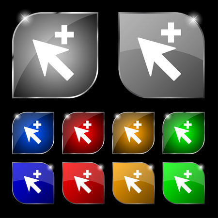 add icon: Cursor, arrow plus, add icon sign. Set of ten colorful buttons with glare. illustration