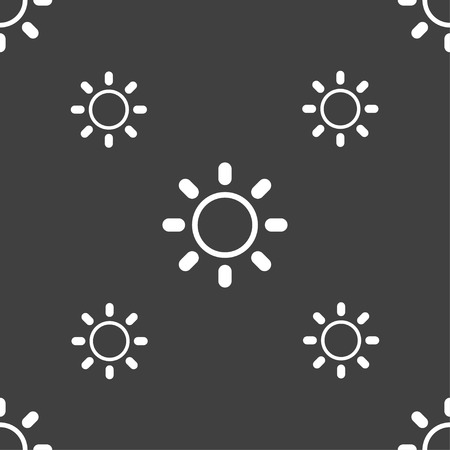 brightness: Brightness icon sign. Seamless pattern on a gray background. illustration