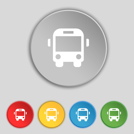 schoolbus: Bus icon sign. Symbol on five flat buttons. illustration