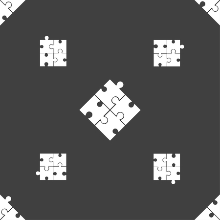 conundrum: Puzzle piece icon sign. Seamless pattern on a gray background. illustration