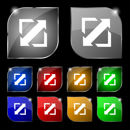 minimize: Deploying video, screen size icon sign. Set of ten colorful buttons with glare. illustration Stock Photo