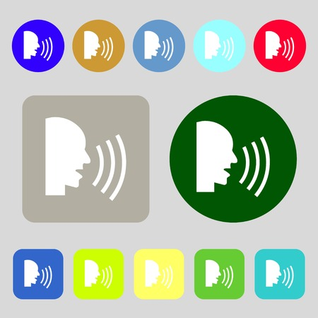 noisily: Talking Flat modern web icon.12 colored buttons. Flat design. illustration
