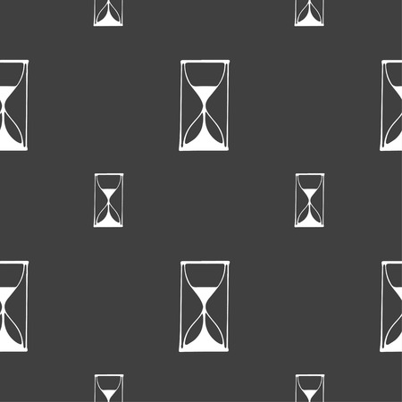 sand timer: Hourglass sign icon. Sand timer symbol. Seamless pattern on a gray background. illustration