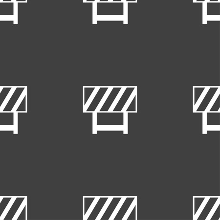 road barrier: road barrier icon sign. Seamless pattern on a gray background. illustration
