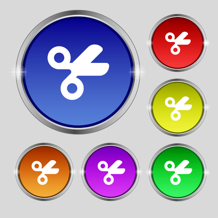 disclosed: Scissors hairdresser, Tailor icon sign. Round symbol on bright colourful buttons. illustration