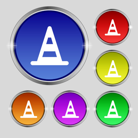 traffic pylon: road cone icon sign. Round symbol on bright colourful buttons. illustration