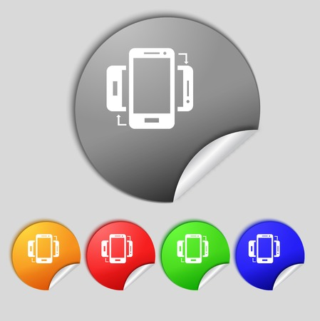 data exchange: Synchronization sign icon. smartphones sync symbol. Data exchange. Set colur buttons illustration