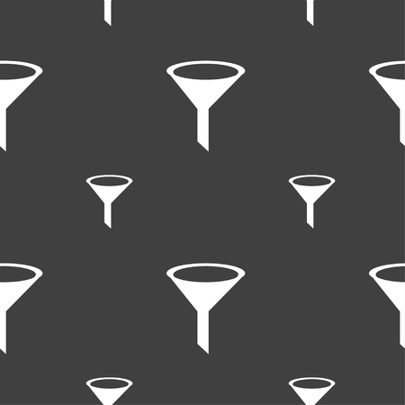 filtering: Funnel icon sign. Seamless pattern on a gray background. illustration
