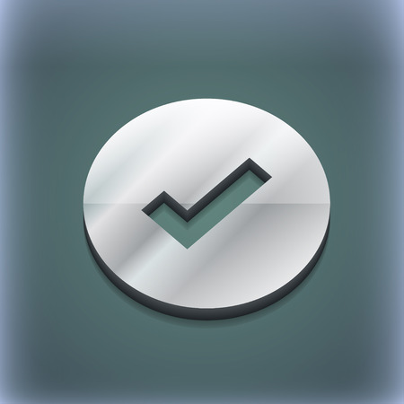 tik: Check mark, tik icon symbol. 3D style. Trendy, modern design with space for your text illustration. Raster version